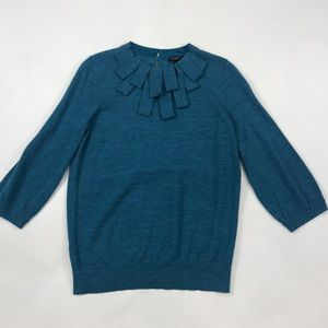 Ann Taylor Peacock Blue Merino Wool Sweater